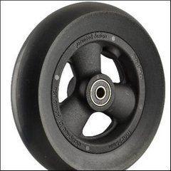 "Pr1mo Castor - 6"" (147 x 37mm) Black Plastic Wheel Black Polyurethane Tyre"