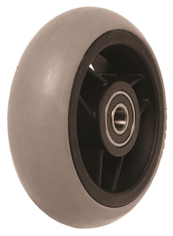 "100mm x 32mm (4"") Castor Wheel with Black Plastic Hub, Grey Rubber Tyre WA4MBL"