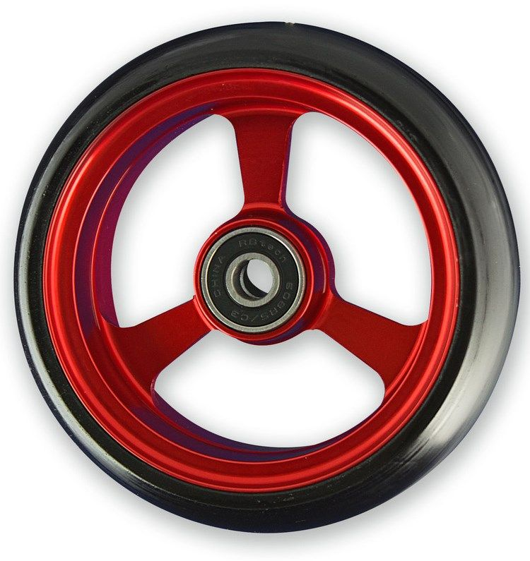 Frog Legs Castor - 5 x 1 1/4 Red Aluminium Hub with Black Tyre