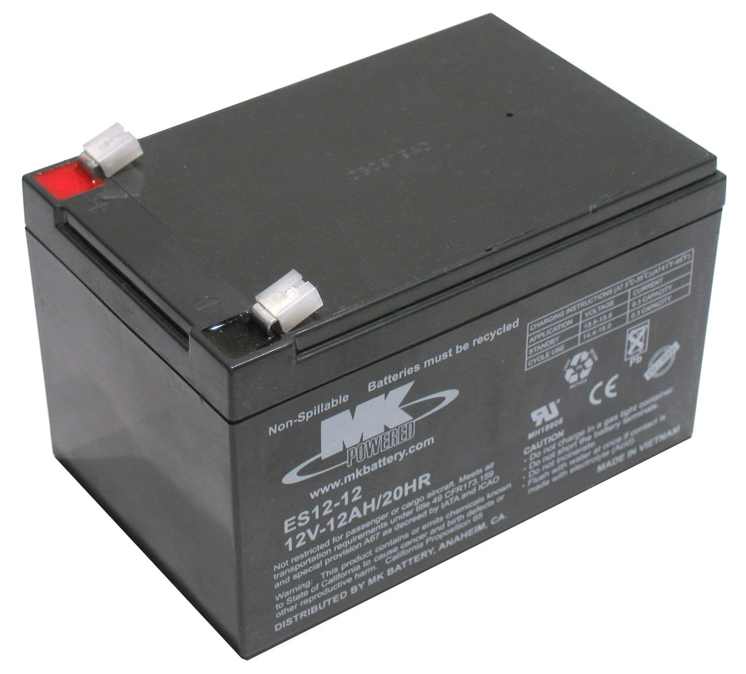 12V 12Ah MK Sealed Lead Acid (AGM) Mobility Scooter Battery ES12-12