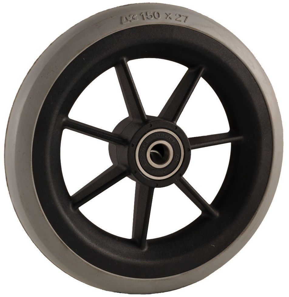 "150mm x 27mm (6"") Castor Wheel with Black Plastic Hub, Grey Rubber Tyre WA6B/T"