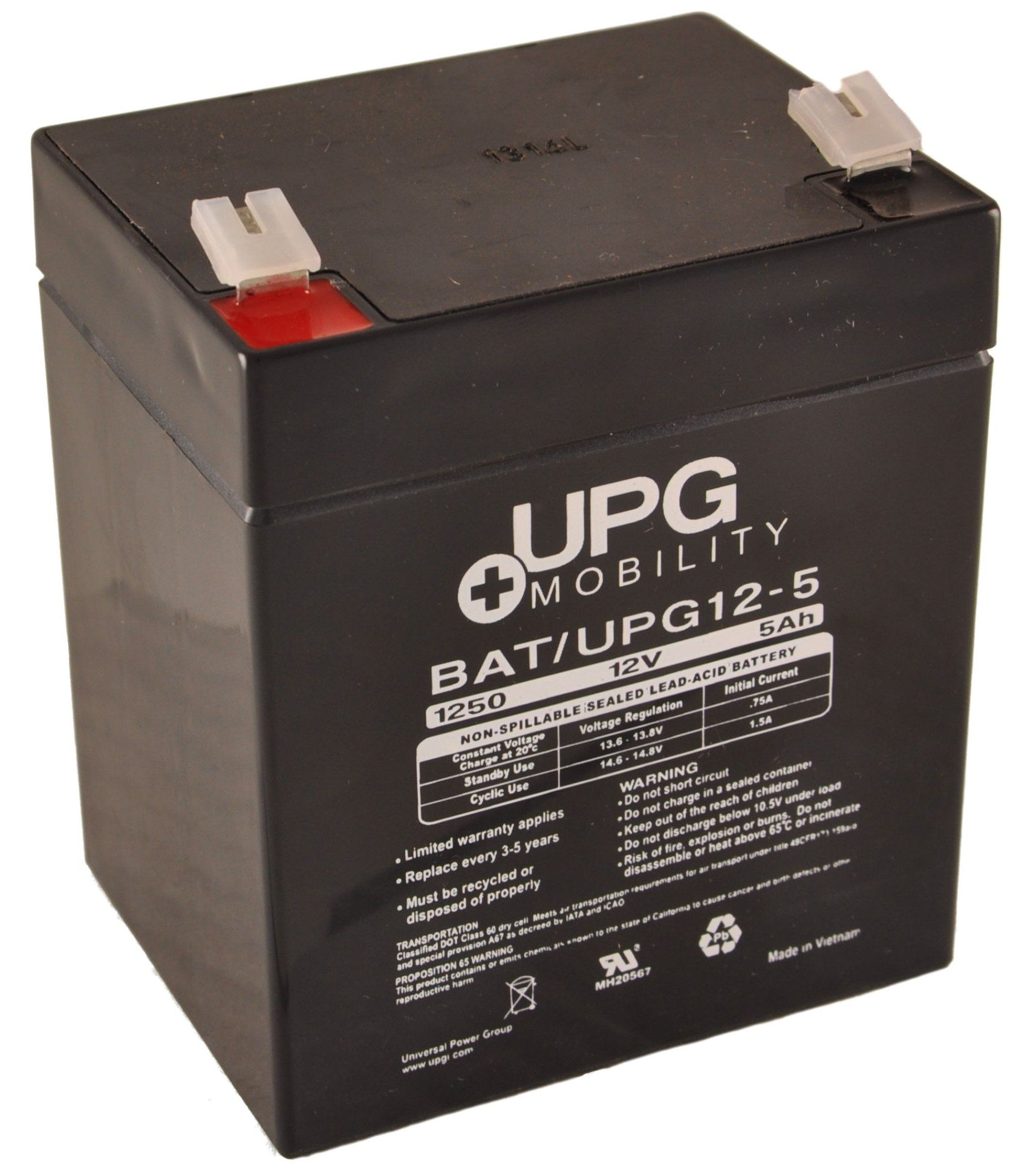 12V 5Ah UPG Sealed Lead Acid (AGM) Hoist & Lift Battery