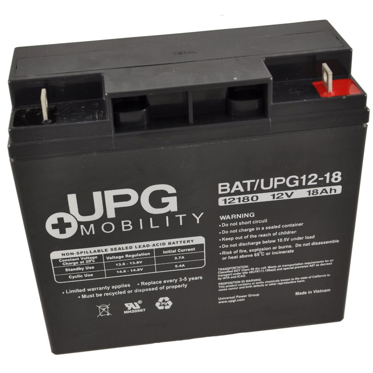 12V 18Ah UPG Sealed Lead Acid (AGM) Mobility Scooter Battery UB12180