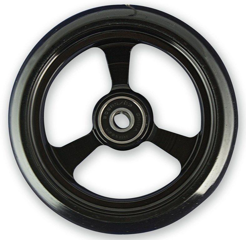 Frog Legs Castor - 4 x 1 1/4 Black Aluminium Hub with Black Tyre LT4SBBKB