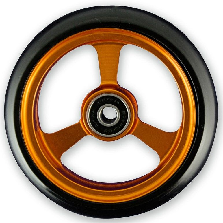 Frog Legs Castor - 4 x 1 1/4 Orange Aluminium Hub with Black Tyre LT4SBOB