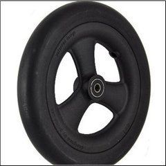 "Pr1mo Castor - 8"" (200 x 28mm) Black Plastic Wheel, Black Polyurethane Tyre"