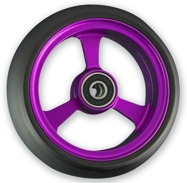 Frog Legs Castor - 4 x 1 1/4 Purple Aluminium Hub with Black Tyre