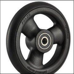 "Pr1mo Castor - 4"" (102 x 19mm) Black Plastic Wheel, Black Polyurethane Tyre"
