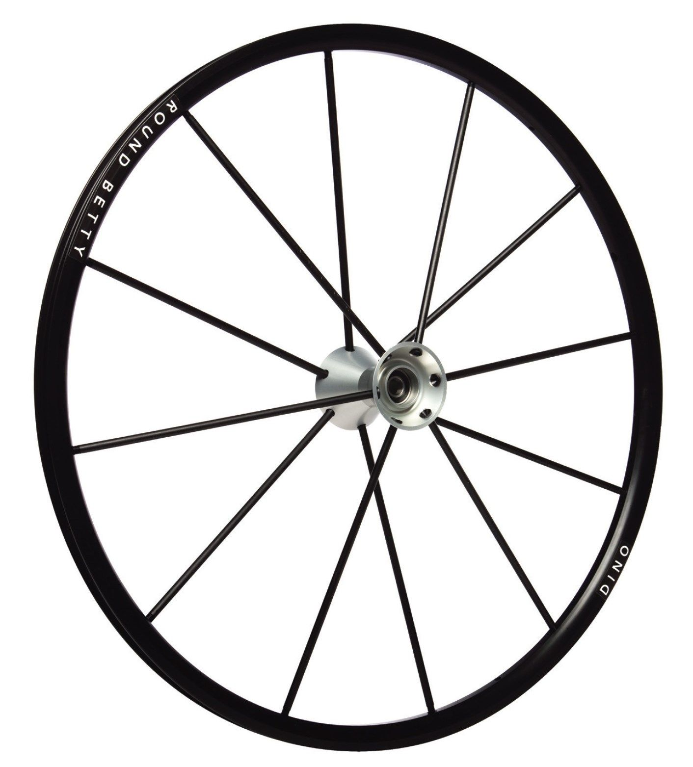 "25"" Round Betty Dino Wheel - Black Rim, Silver Hub, 12 Spokes DINS-25"