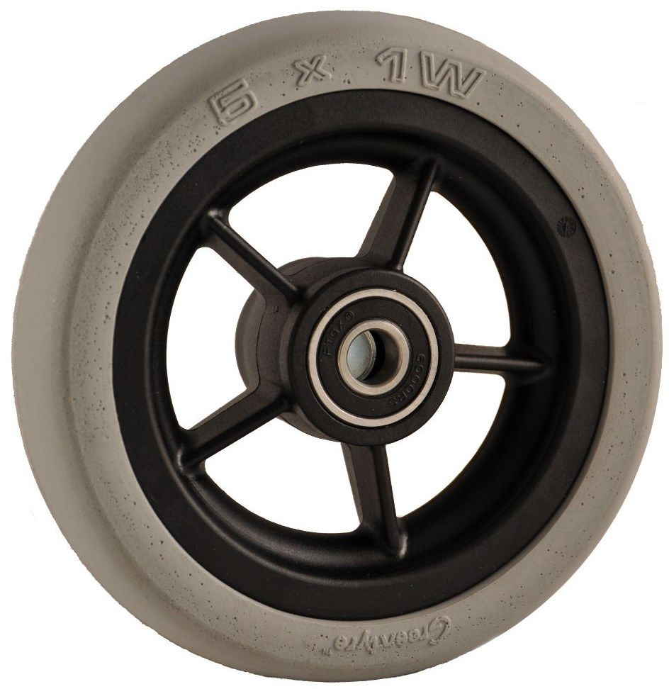 "125mm x 30mm (5"") Castor Wheel with Black Plastic Hub, Grey Soft Rubber Tyre"