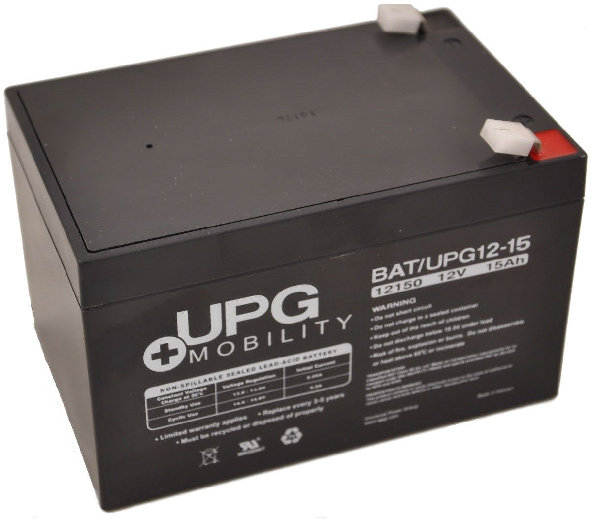 12V 15Ah UPG Sealed Lead Acid (AGM) Mobility Scooter Battery UB12150