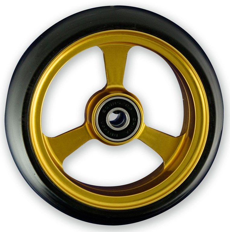 Frog Legs Castor - 4 x 1 1/4 Gold Aluminium Hub with Black Tyre
