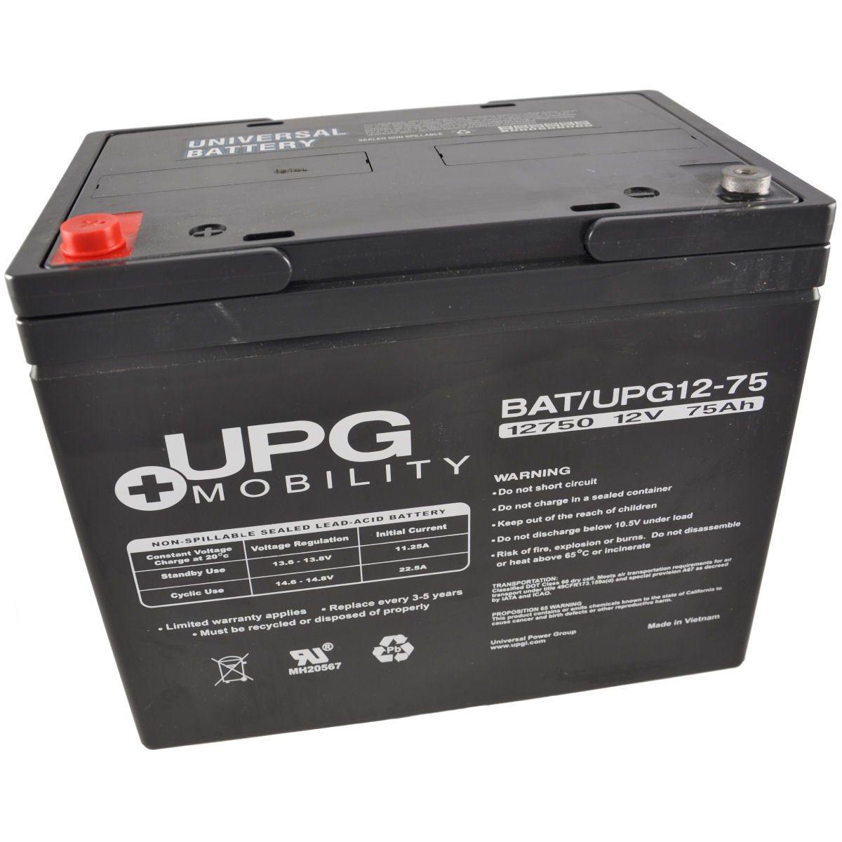 12V 75Ah UPG Sealed Lead Acid (AGM) Mobility Scooter Battery