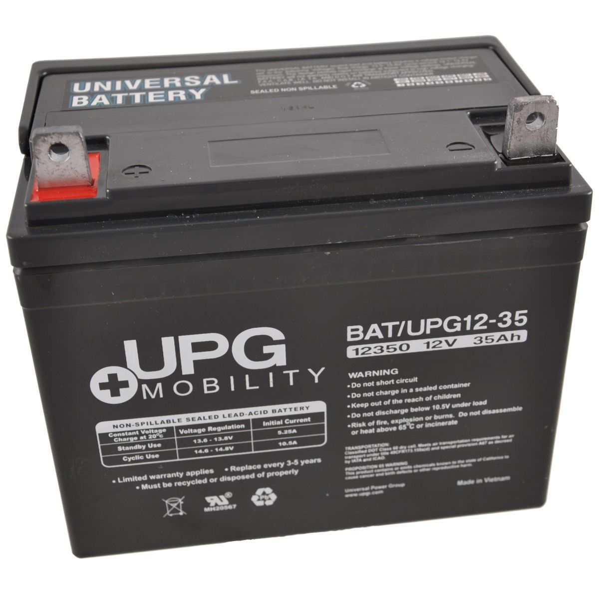 12V 35Ah UPG Sealed Lead Acid (AGM) Mobility Scooter Battery