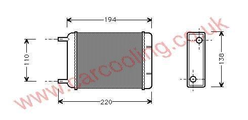 Heater Matrix Austin Mini 37H 7216 / BAU 5043