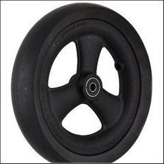 "Pr1mo Castor - 7 1/4"" (185 x 39mm) Black Plastic Wheel, Black Polyurethane Tyre"