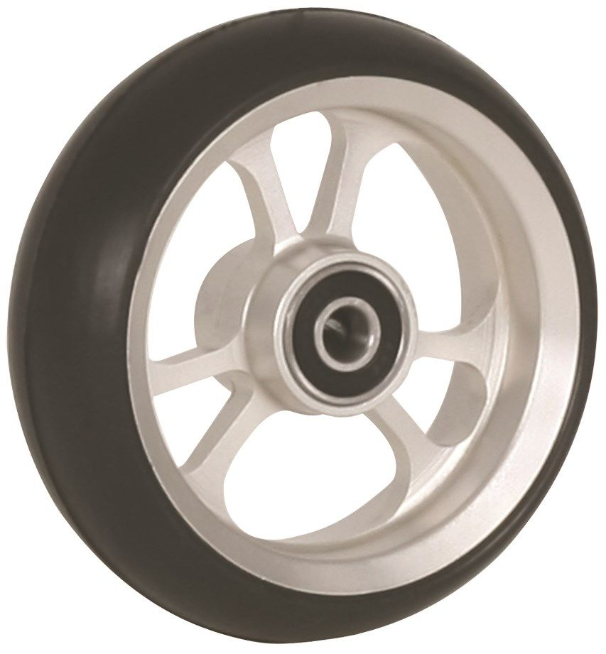 "100mm x 34mm (4"") Castor Wheel with ALUCore Hub, Black Rubber Tyre WA4AC"
