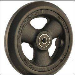"Pr1mo Castor - 5"" (123 x 26mm) Black Plastic Wheel, Black Polyurethane Tyre WA12326"