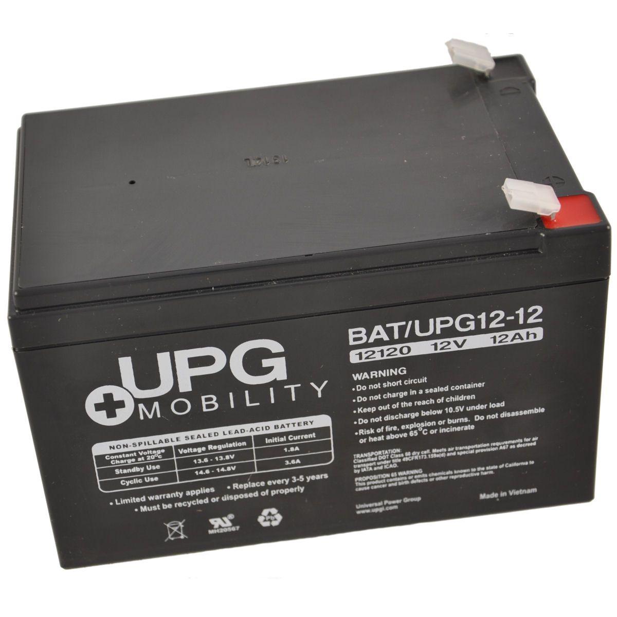 12V 12Ah UPG Sealed Lead Acid (AGM) Mobility Scooter Battery